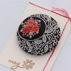 ブローチ 薔薇(黒)
